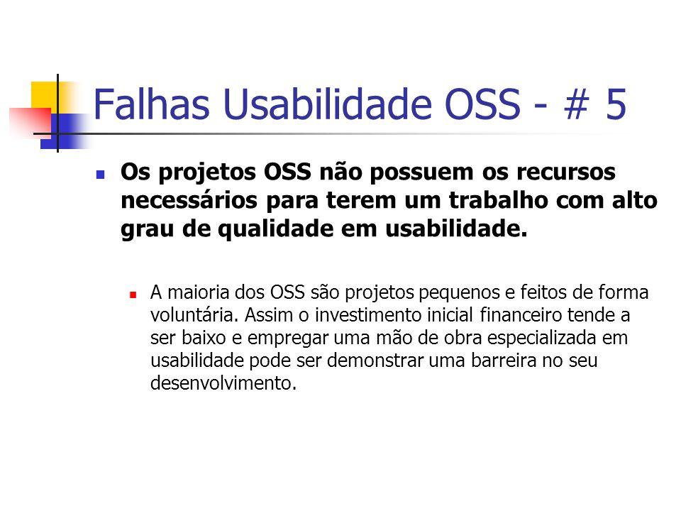 Falhas Usabilidade OSS - # 5 Os projetos OSS não possuem os recursos necessários para terem um trabalho com alto grau de qualidade em usabilidade.