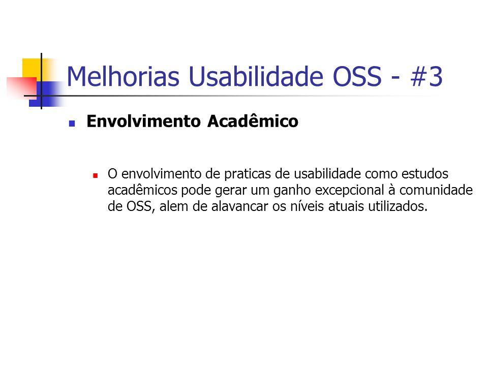 Melhorias Usabilidade OSS - #3 Envolvimento Acadêmico O envolvimento de praticas de usabilidade como estudos acadêmicos pode gerar um ganho excepcional à comunidade de OSS, alem de alavancar os níveis atuais utilizados.