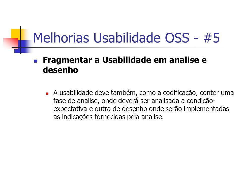 Melhorias Usabilidade OSS - #5 Fragmentar a Usabilidade em analise e desenho A usabilidade deve também, como a codificação, conter uma fase de analise, onde deverá ser analisada a condição- expectativa e outra de desenho onde serão implementadas as indicações fornecidas pela analise.
