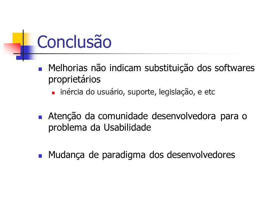 Conclusão Melhorias não indicam substituição dos softwares proprietários inércia do usuário, suporte, legislação, e etc Atenção da comunidade desenvolvedora para o problema da Usabilidade Mudança de paradigma dos desenvolvedores