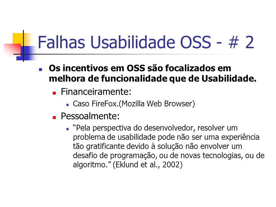 Falhas Usabilidade OSS - # 2 Os incentivos em OSS são focalizados em melhora de funcionalidade que de Usabilidade.