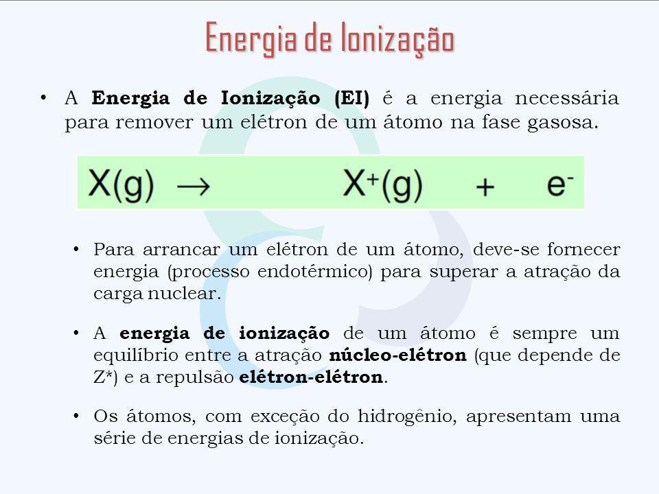 A Energia de Ionização (EI) é a energia necessária para remover um elétron de um átomo na fase gasosa. Para arrancar um elétron de um átomo, deve-se f