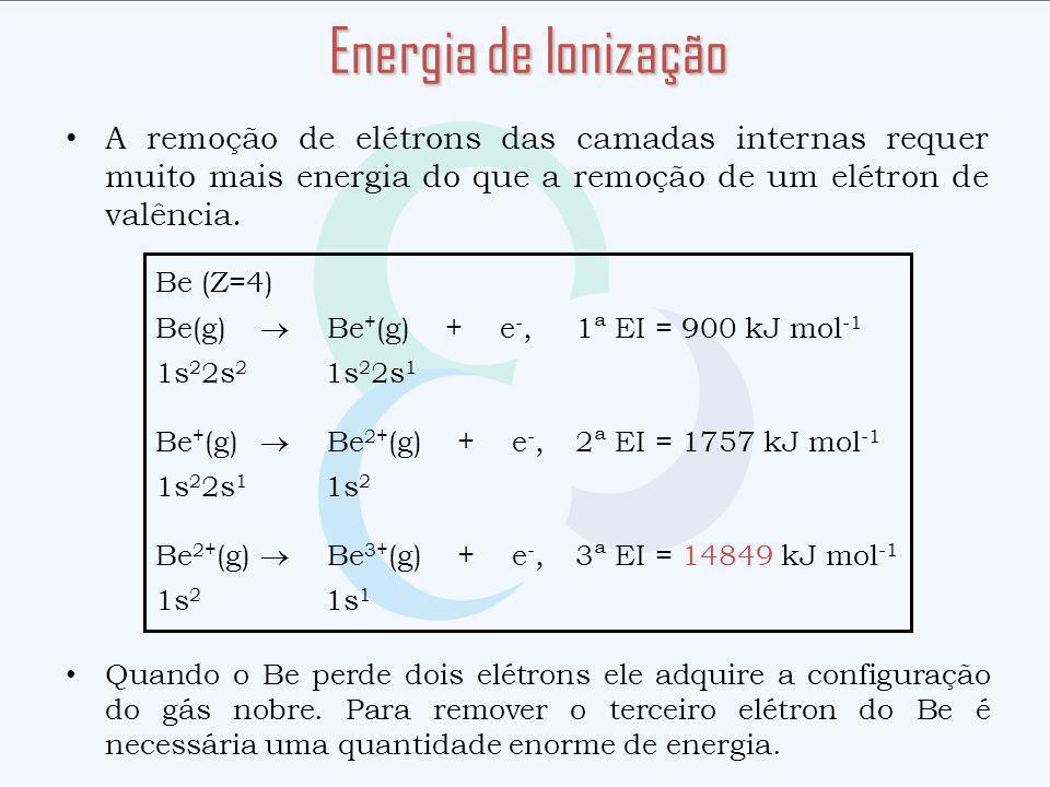 A remoção de elétrons das camadas internas requer muito mais energia do que a remoção de um elétron de valência. Quando o Be perde dois elétrons ele a