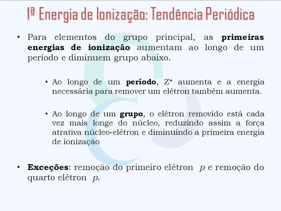 Para elementos do grupo principal, as primeiras energias de ionização aumentam ao longo de um período e diminuem grupo abaixo. Ao longo de um período,