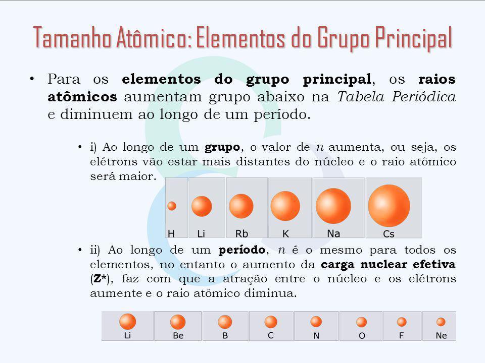 Para os elementos do grupo principal, os raios atômicos aumentam grupo abaixo na Tabela Periódica e diminuem ao longo de um período.