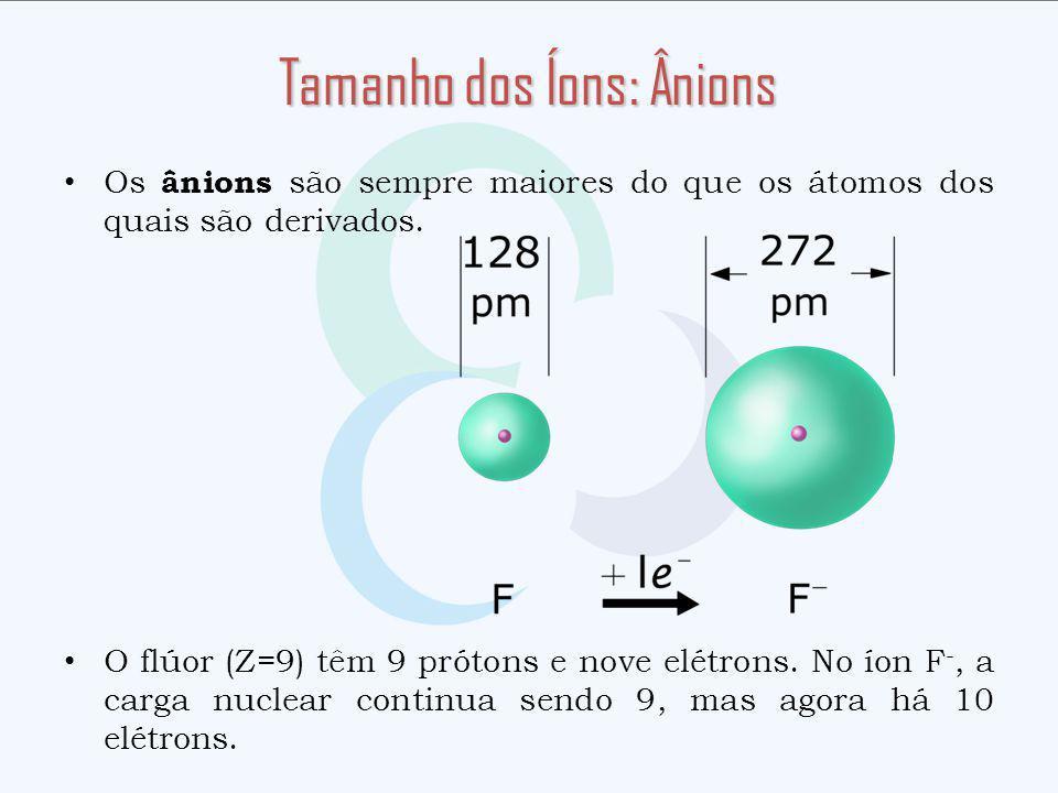 Os ânions são sempre maiores do que os átomos dos quais são derivados. O flúor (Z=9) têm 9 prótons e nove elétrons. No íon F -, a carga nuclear contin