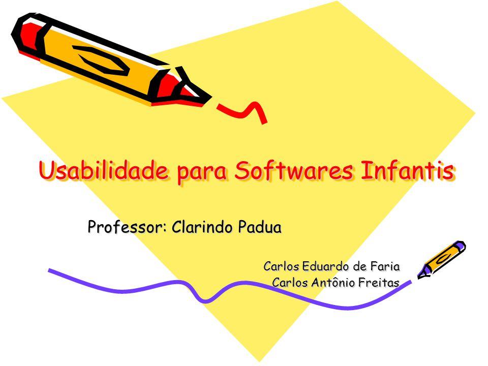 Usabilidade para Softwares Infantis Professor: Clarindo Padua Carlos Eduardo de Faria Carlos Antônio Freitas