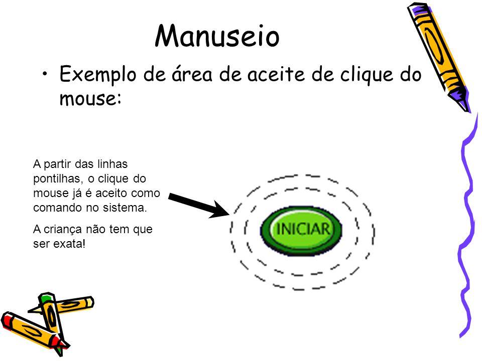 Manuseio Exemplo de área de aceite de clique do mouse: A partir das linhas pontilhas, o clique do mouse já é aceito como comando no sistema. A criança