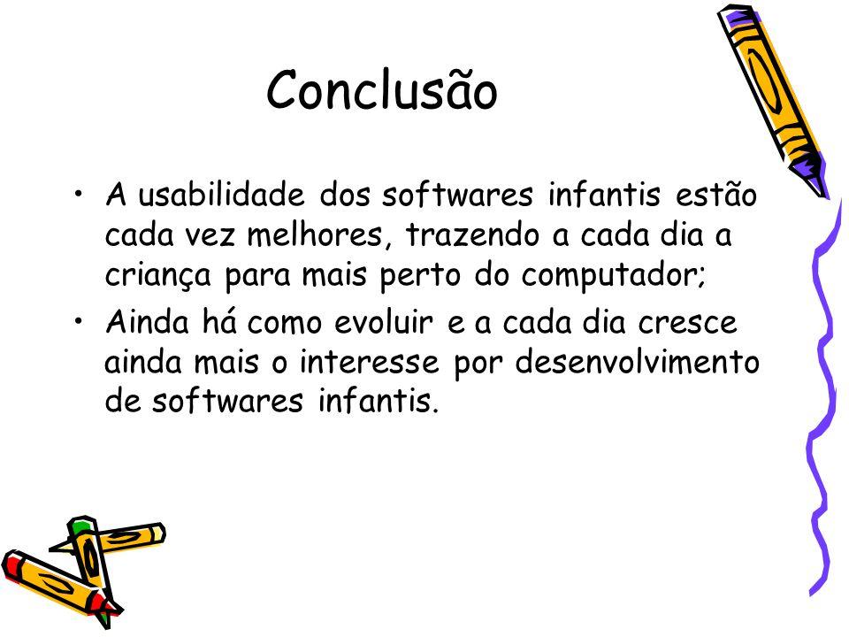 Conclusão A usabilidade dos softwares infantis estão cada vez melhores, trazendo a cada dia a criança para mais perto do computador; Ainda há como evo