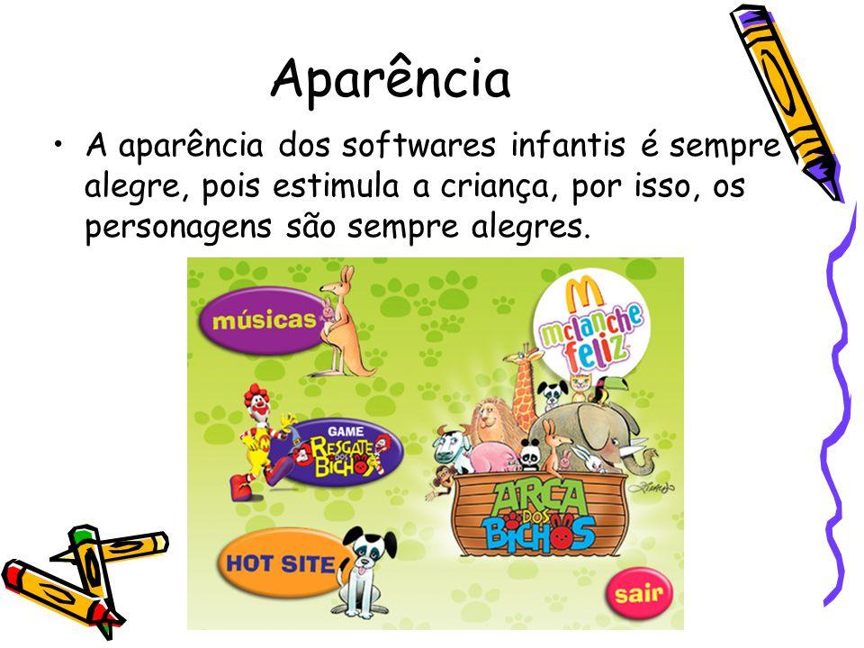 Aparência A aparência dos softwares infantis é sempre alegre, pois estimula a criança, por isso, os personagens são sempre alegres.