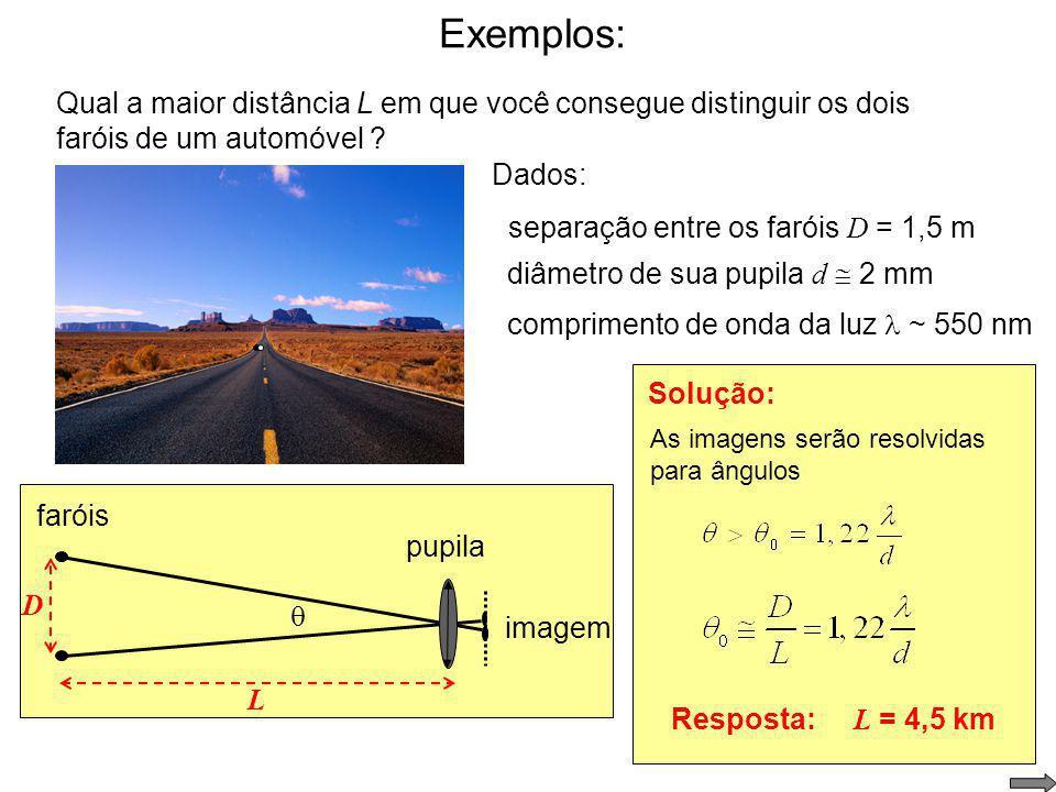 Limite de resolução – critério de Rayleigh: Para 0 pequeno, critério de Rayleigh É o ângulo 0 em que o máximo central de difração de uma imagem se sup