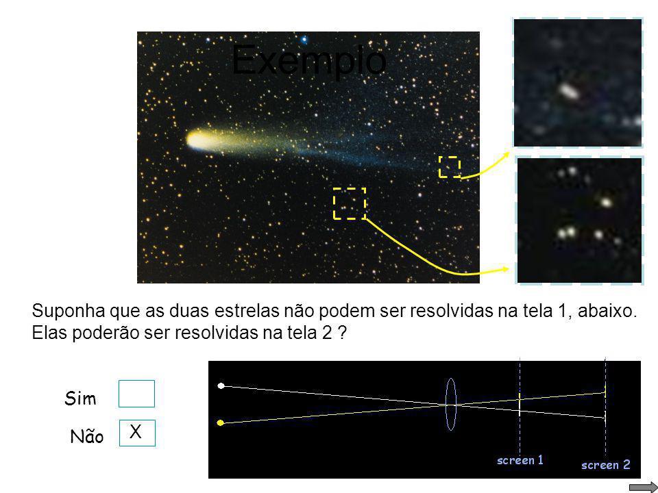 Cometa Halley Exemplo Considerando-se apenas o limite imposto pela difração, qual a menor separação angular entre duas estrelas para que elas possam s