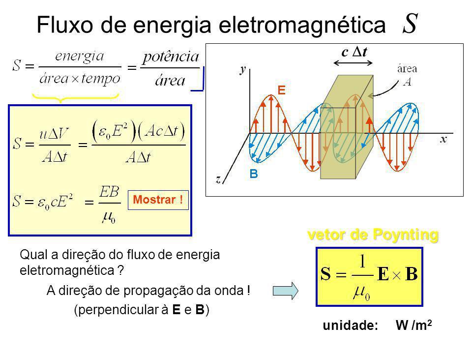 Energia transportada por uma OEM energia do campo elétrico + energia do campo magnético volume densidade de energia Mas, densidade de energia associad