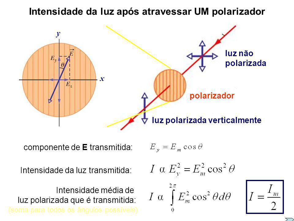 Intensidade da luz após atravessar um polarizador Qual a intensidade da luz transmitida por um polarizador ? E por dois polarizadores, com eixos de po