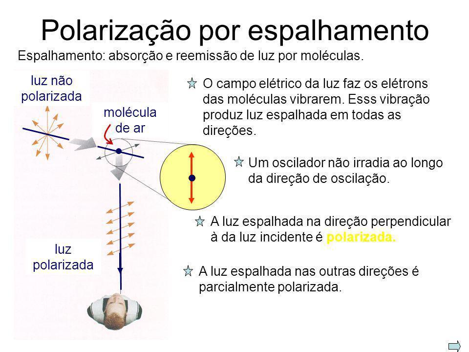 Polarização por dupla refração – materiais birrefringentes eixo ótico O E Fonte pontual S no interior de um cristal birrefringente Dois tipos de frent