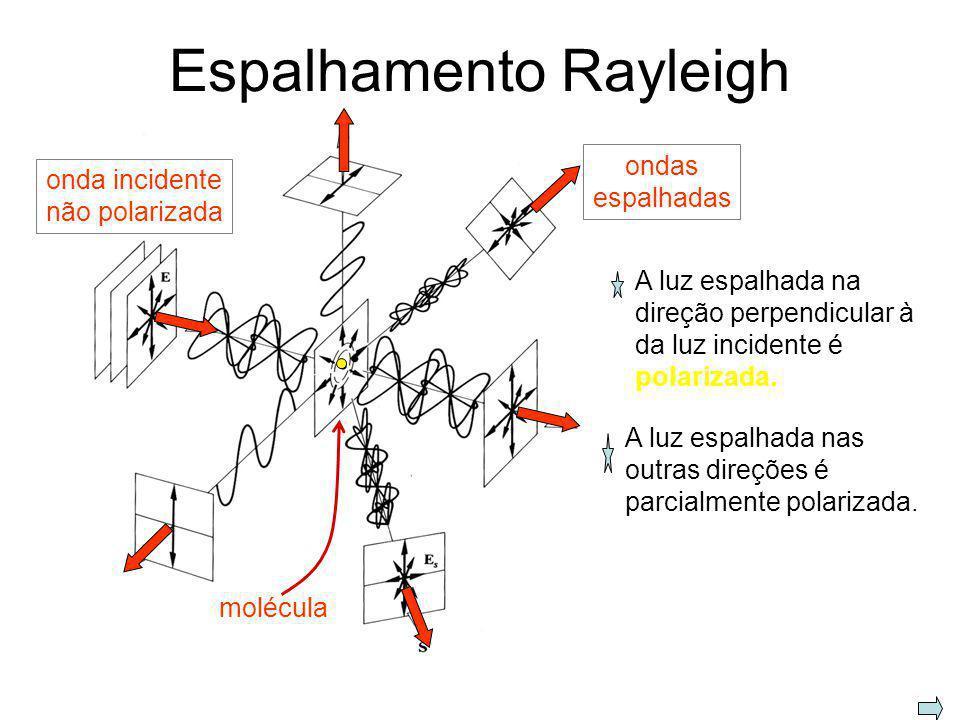 Polarização por espalhamento Espalhamento: absorção e reemissão de luz por moléculas. luz não polarizada molécula de ar luz polarizada O campo elétric