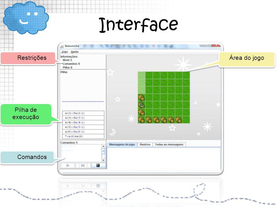 Interface Comandos Restrições Pilha de execução Pilha de execução Área do jogo