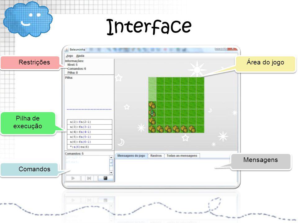 Interface Comandos Restrições Pilha de execução Pilha de execução Área do jogo Mensagens