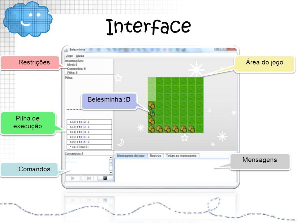 Interface Comandos Restrições Pilha de execução Pilha de execução Área do jogo Mensagens Belesminha :D