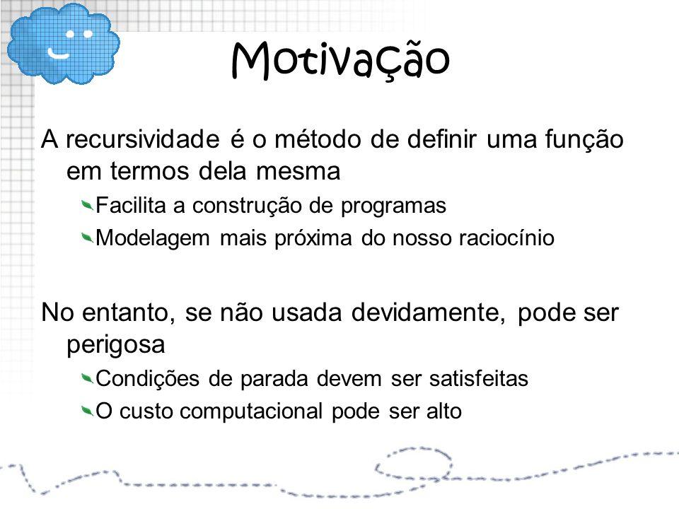 Motivação A recursividade é o método de definir uma função em termos dela mesma Facilita a construção de programas Modelagem mais próxima do nosso rac