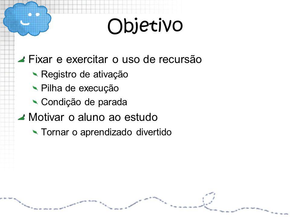 Objetivo Fixar e exercitar o uso de recursão Registro de ativação Pilha de execução Condição de parada Motivar o aluno ao estudo Tornar o aprendizado