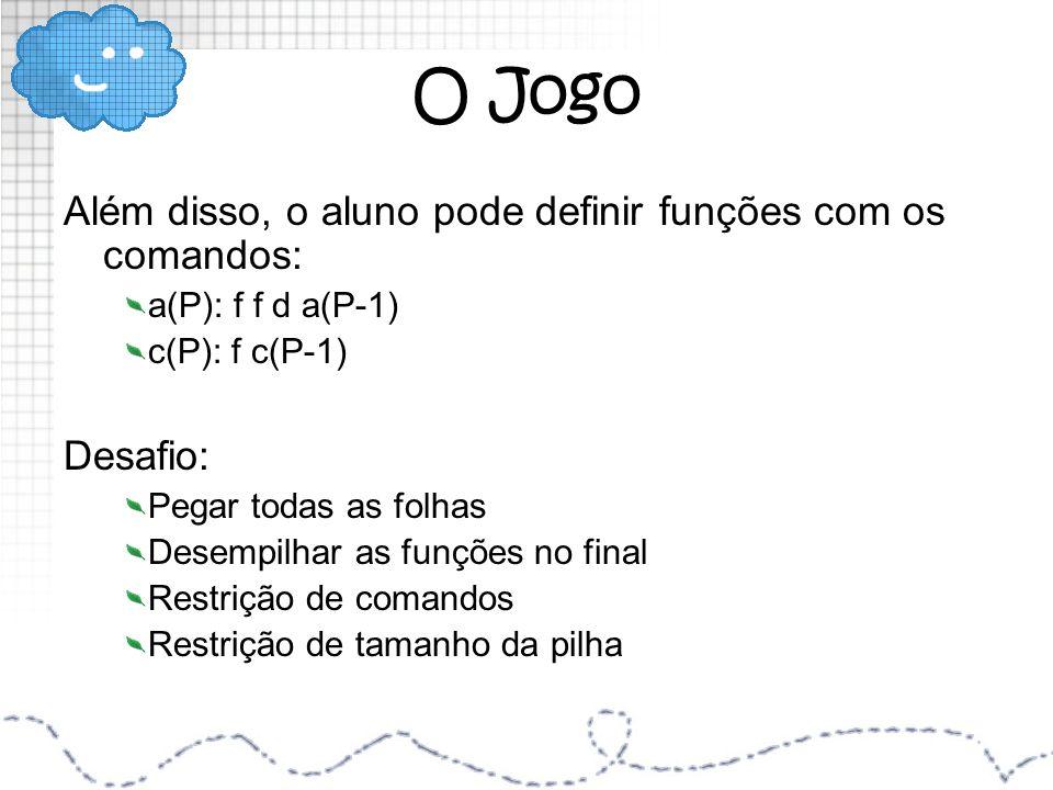 O Jogo Além disso, o aluno pode definir funções com os comandos: a(P): f f d a(P-1) c(P): f c(P-1) Desafio: Pegar todas as folhas Desempilhar as funçõ
