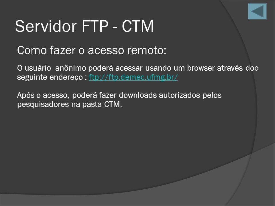 Servidor FTP - CTM Como fazer o acesso remoto: O usuário anônimo poderá acessar usando um browser através doo seguinte endereço : ftp://ftp.demec.ufmg
