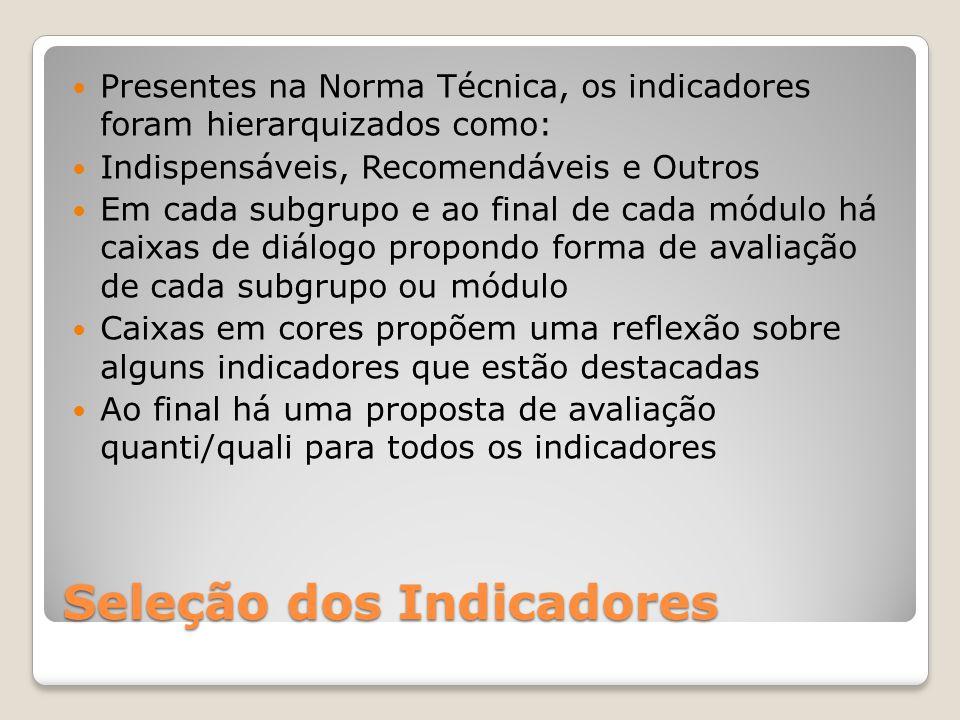 Seleção dos Indicadores Presentes na Norma Técnica, os indicadores foram hierarquizados como: Indispensáveis, Recomendáveis e Outros Em cada subgrupo
