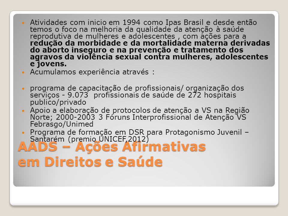 AADS – Ações Afirmativas em Direitos e Saúde Atividades com inicio em 1994 como Ipas Brasil e desde então temos o foco na melhoria da qualidade da ate