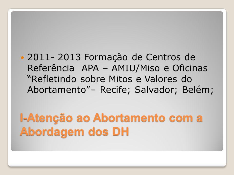 I-Atenção ao Abortamento com a Abordagem dos DH 2011- 2013 Formação de Centros de Referência APA – AMIU/Miso e Oficinas Refletindo sobre Mitos e Valor