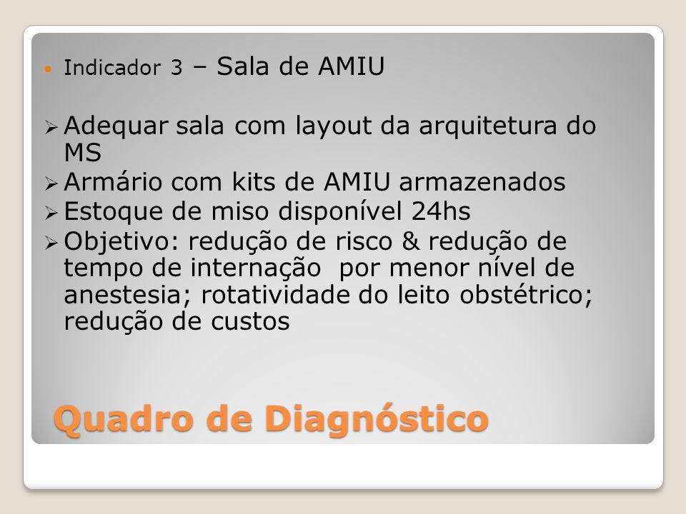 Quadro de Diagnóstico Indicador 3 – Sala de AMIU Adequar sala com layout da arquitetura do MS Armário com kits de AMIU armazenados Estoque de miso dis