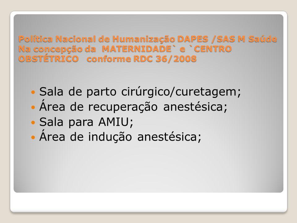 Política Nacional de Humanização DAPES /SAS M Saúde Na concepção da MATERNIDADE` e `CENTRO OBSTÉTRICO conforme RDC 36/2008 Sala de parto cirúrgico/cur