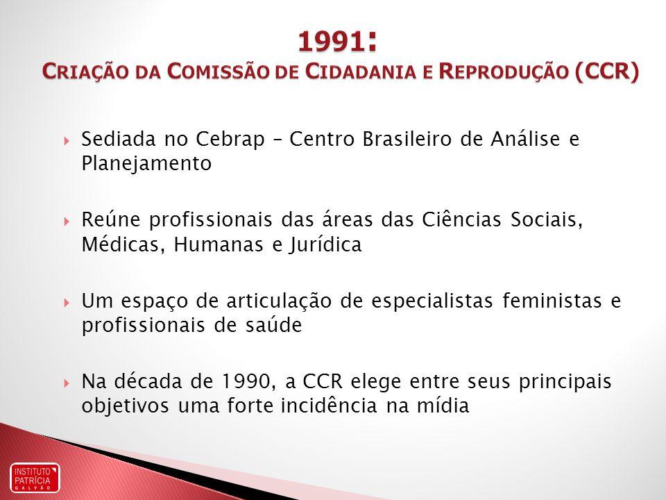 Sediada no Cebrap – Centro Brasileiro de Análise e Planejamento Reúne profissionais das áreas das Ciências Sociais, Médicas, Humanas e Jurídica Um espaço de articulação de especialistas feministas e profissionais de saúde Na década de 1990, a CCR elege entre seus principais objetivos uma forte incidência na mídia