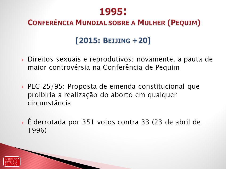 Direitos sexuais e reprodutivos: novamente, a pauta de maior controvérsia na Conferência de Pequim PEC 25/95: Proposta de emenda constitucional que proibiria a realização do aborto em qualquer circunstância É derrotada por 351 votos contra 33 (23 de abril de 1996)
