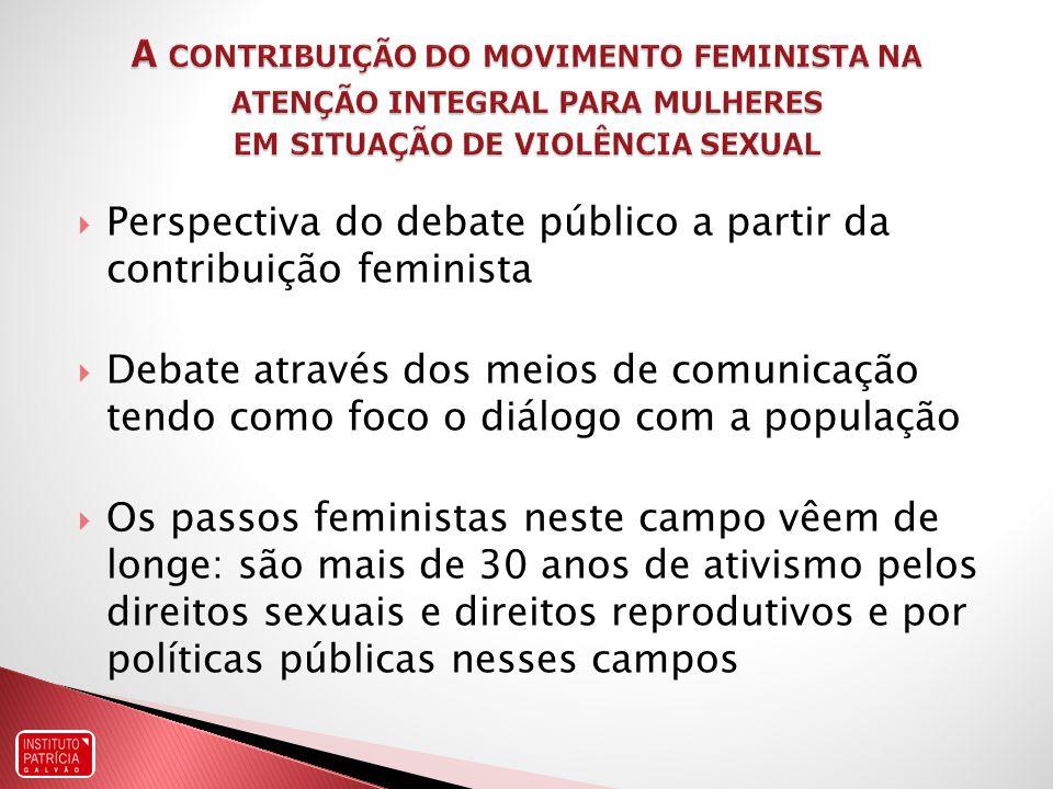 Perspectiva do debate público a partir da contribuição feminista Debate através dos meios de comunicação tendo como foco o diálogo com a população Os passos feministas neste campo vêem de longe: são mais de 30 anos de ativismo pelos direitos sexuais e direitos reprodutivos e por políticas públicas nesses campos