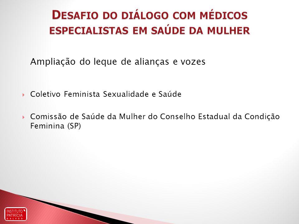 Ampliação do leque de alianças e vozes Coletivo Feminista Sexualidade e Saúde Comissão de Saúde da Mulher do Conselho Estadual da Condição Feminina (SP)