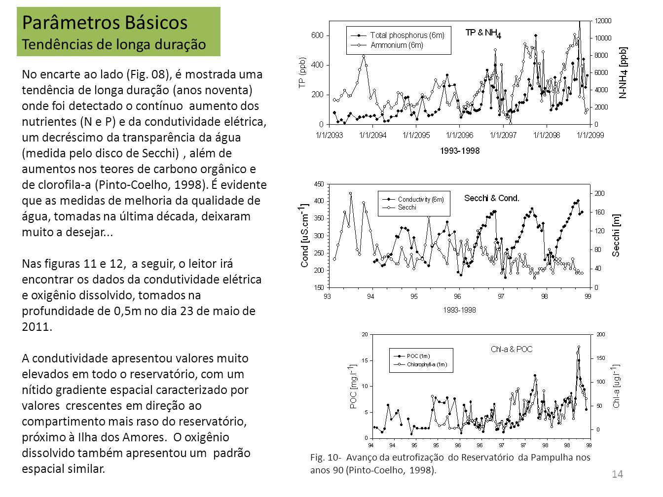 Parâmetros Básicos Tendências de longa duração No encarte ao lado (Fig. 08), é mostrada uma tendência de longa duração (anos noventa) onde foi detecta