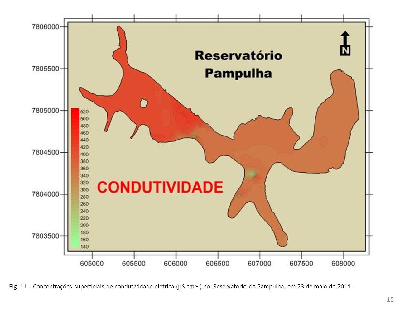 Fig. 11 – Concentrações superficiais de condutividade elétrica (µS.cm -1 ) no Reservatório da Pampulha, em 23 de maio de 2011. 15