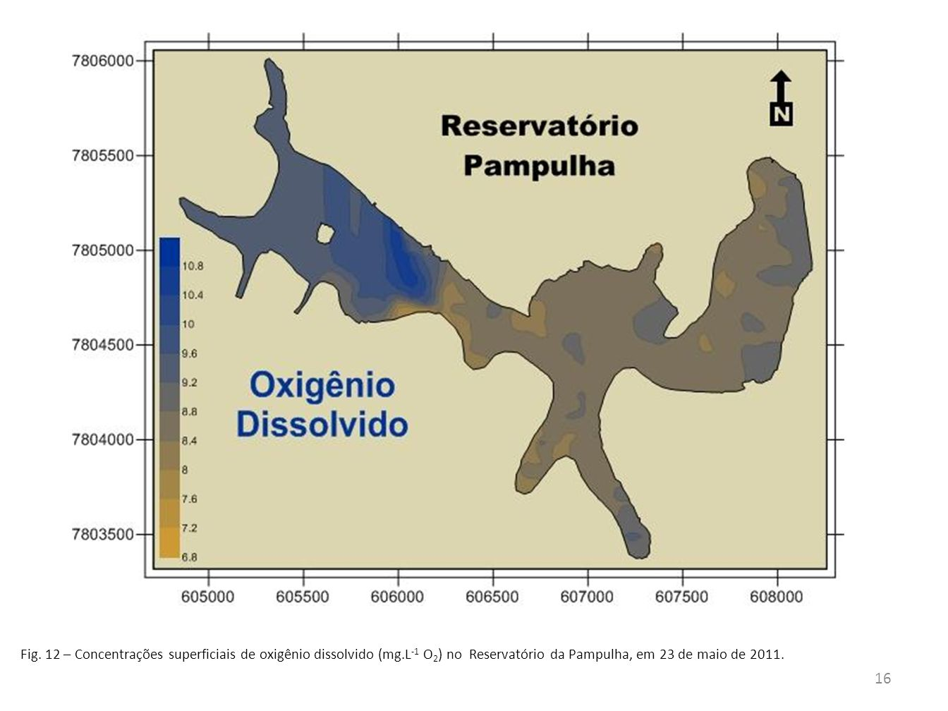 Fig. 12 – Concentrações superficiais de oxigênio dissolvido (mg.L -1 O 2 ) no Reservatório da Pampulha, em 23 de maio de 2011. 16
