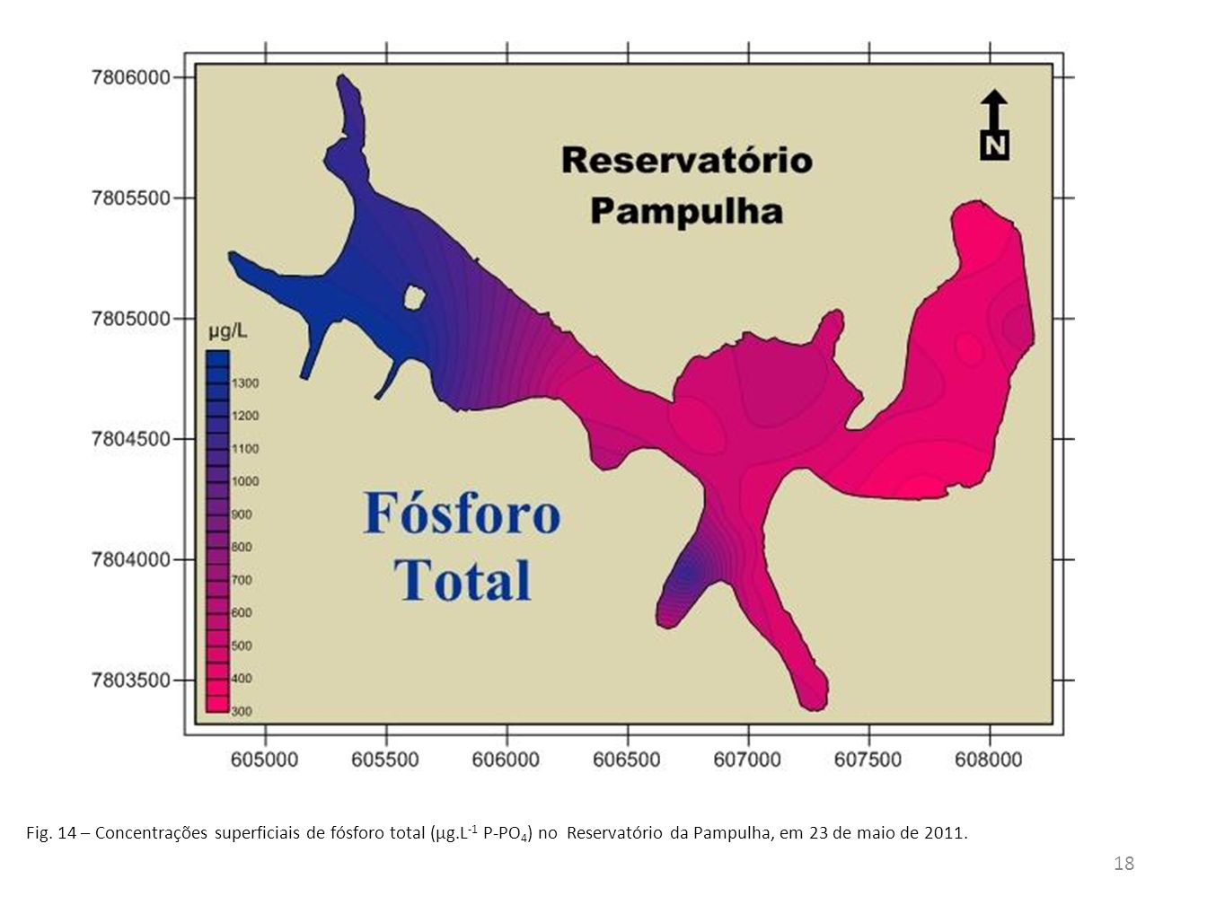 Fig. 14 – Concentrações superficiais de fósforo total (µg.L -1 P-PO 4 ) no Reservatório da Pampulha, em 23 de maio de 2011. 18
