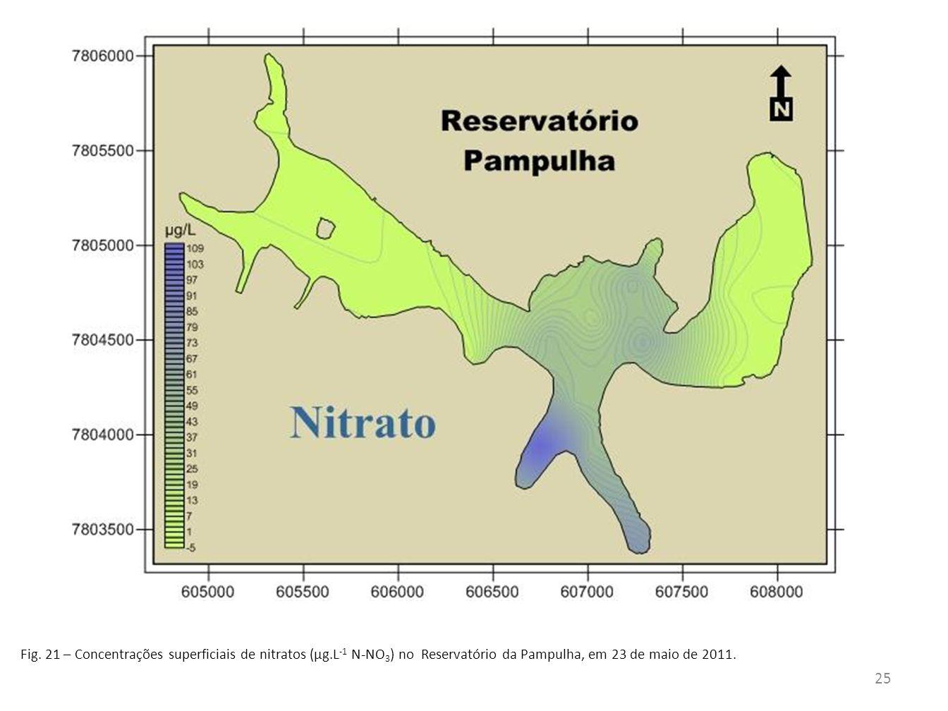 Fig. 21 – Concentrações superficiais de nitratos (µg.L -1 N-NO 3 ) no Reservatório da Pampulha, em 23 de maio de 2011. 25