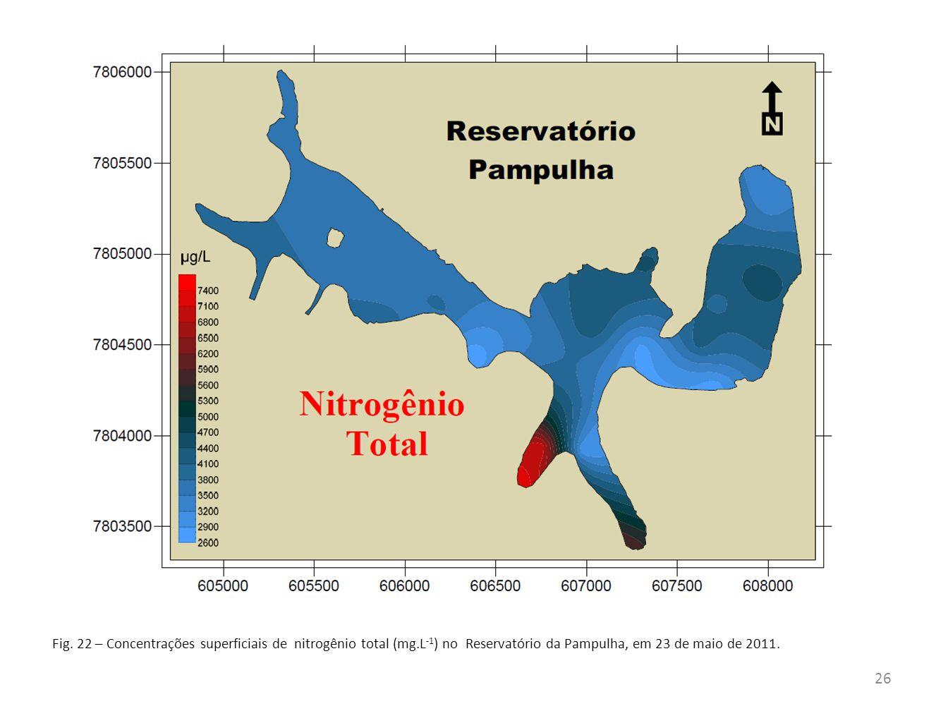 Fig. 22 – Concentrações superficiais de nitrogênio total (mg.L -1 ) no Reservatório da Pampulha, em 23 de maio de 2011. 26