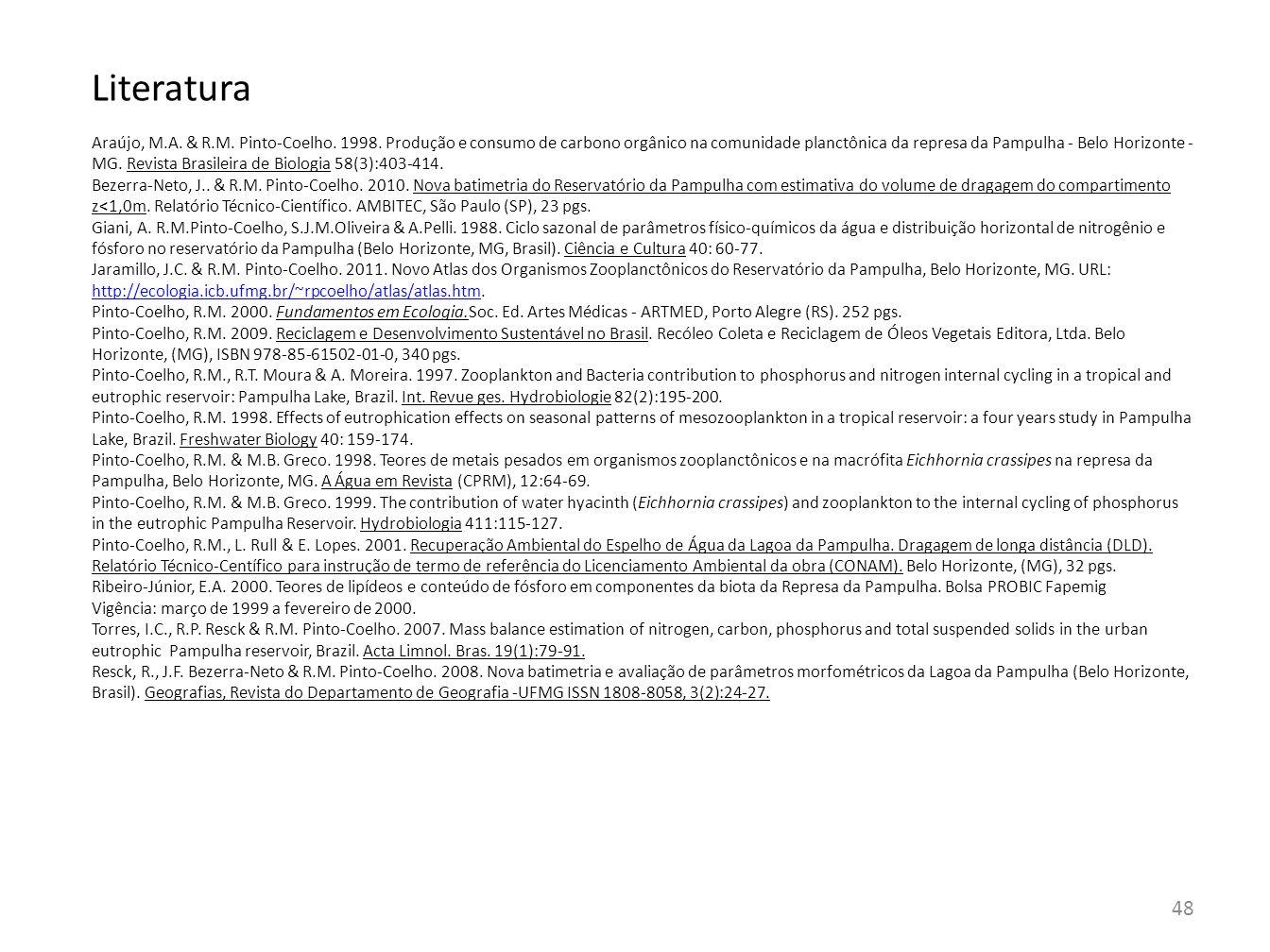 48 Literatura Araújo, M.A. & R.M. Pinto-Coelho. 1998. Produção e consumo de carbono orgânico na comunidade planctônica da represa da Pampulha - Belo H