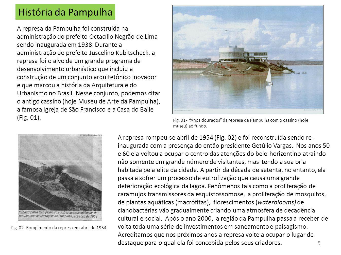 5 História da Pampulha A represa da Pampulha foi construída na administração do prefeito Octacílio Negrão de Lima sendo inaugurada em 1938. Durante a
