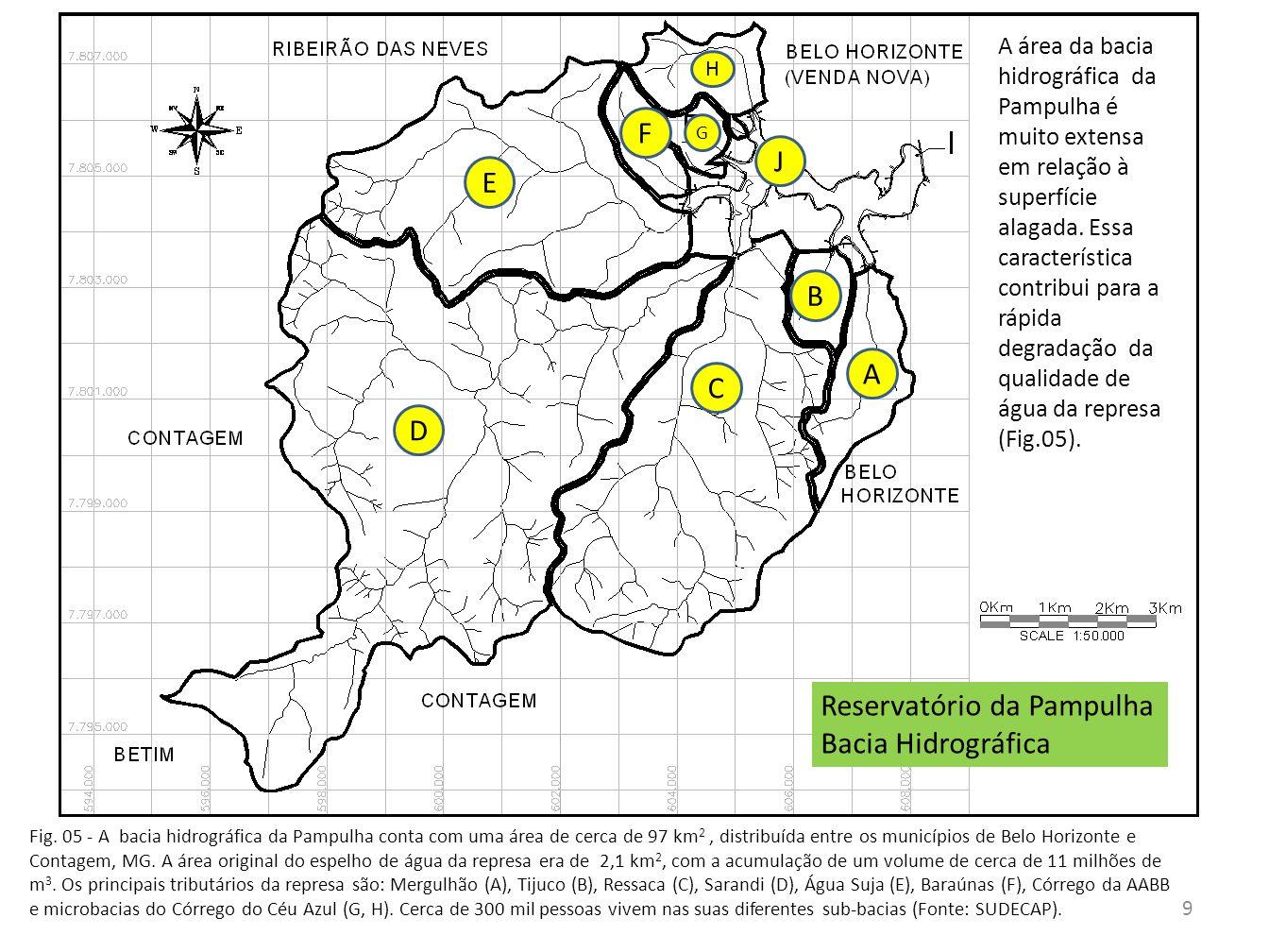 Fig. 05 - A bacia hidrográfica da Pampulha conta com uma área de cerca de 97 km 2, distribuída entre os municípios de Belo Horizonte e Contagem, MG. A