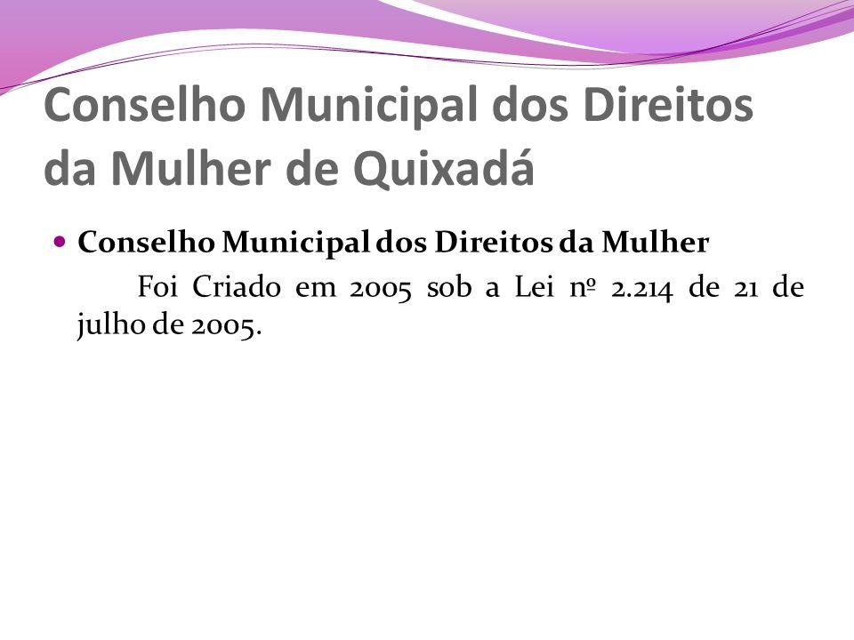 Missão Assessorar o Poder Executivo Municipal e o Poder Legislativo quando da elaboração políticas publicas para as mulheres e da votação de políticas que envolvam a população feminina e as relações de gênero.