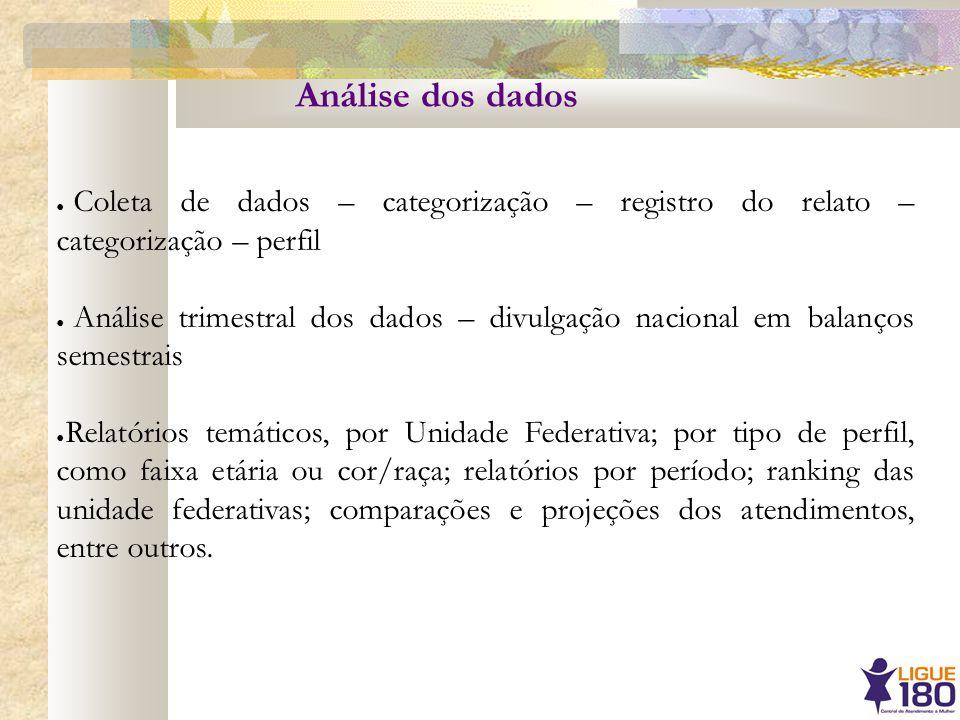 Análise dos dados Coleta de dados – categorização – registro do relato – categorização – perfil Análise trimestral dos dados – divulgação nacional em