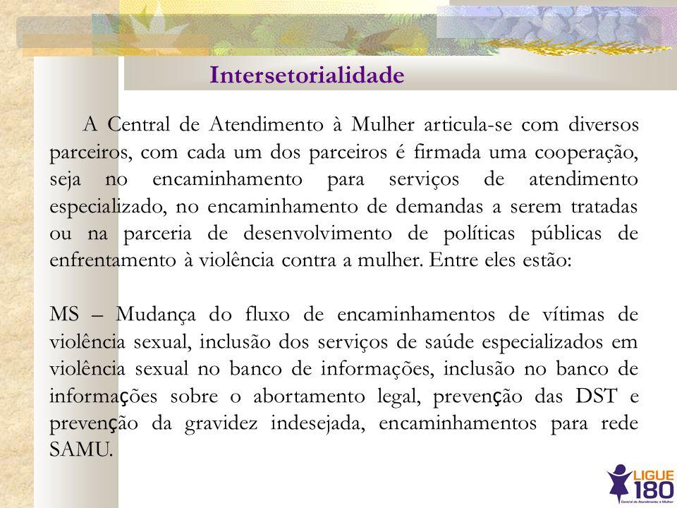 Intersetorialidade A Central de Atendimento à Mulher articula-se com diversos parceiros, com cada um dos parceiros é firmada uma cooperação, seja no e