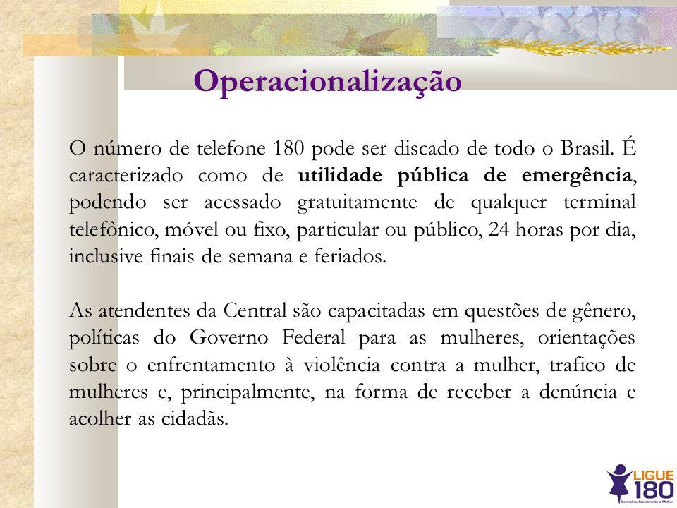 O número de telefone 180 pode ser discado de todo o Brasil. É caracterizado como de utilidade pública de emergência, podendo ser acessado gratuitament