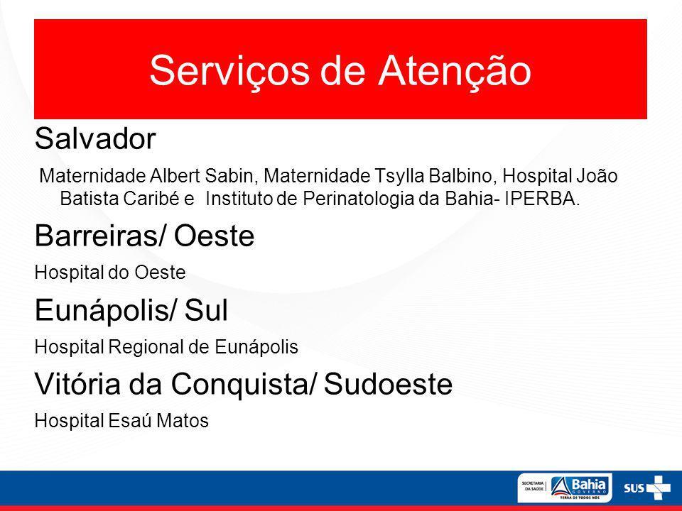 Serviços de Atenção Salvador Maternidade Albert Sabin, Maternidade Tsylla Balbino, Hospital João Batista Caribé e Instituto de Perinatologia da Bahia- IPERBA.